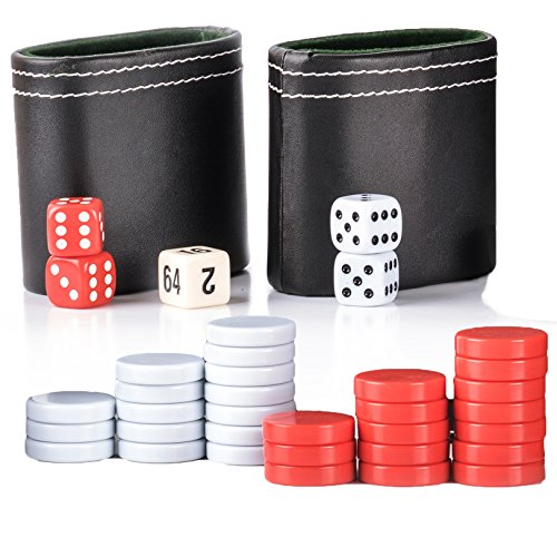 Backgammon Game Pieces Set - Replacement Red/White Checkers, Two PU Leather Dice Cups, Four Dice and One Doubling Cube