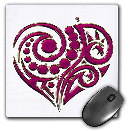 Gold Contemporary Heart - 3dRose Anne Marie Baugh - Hearts - Pink and Gold Contemporary Heart - Mousepad (mp_236038_1)