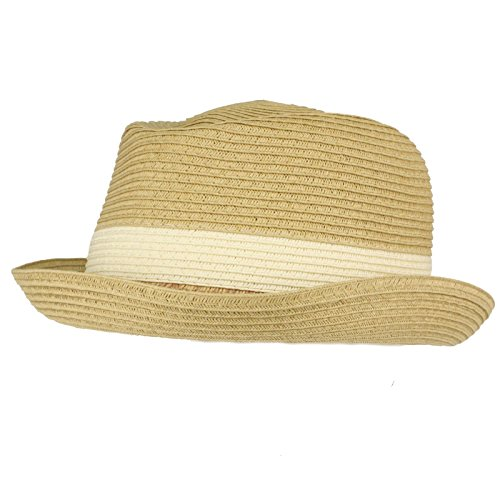 Men's Summer Upturn Curl Brim Retro Pork Pie Derby Fedora Hat Natural M/L 57cm Mens Pork