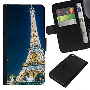 // PHONE CASE GIFT // Moda Estuche Funda de Cuero Billetera Tarjeta de crédito dinero bolsa Cubierta de proteccion Caso HTC DESIRE 816 / Glowing Eiffel Tower /