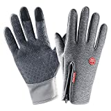 insulated athletic gloves - Lanyi Winter Cycling Gloves Touchscreen Windproof Waterproof Anti-Slip Outdoor Driving Thermal Gloves Men Women (Grey, Small)