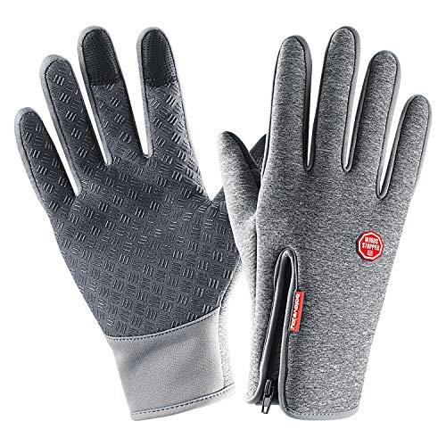 Lanyi Winter Cycling Gloves Touchscreen Windproof Waterproof Anti-Slip Outdoor Driving Thermal Gloves Men Women (Grey, Medium)