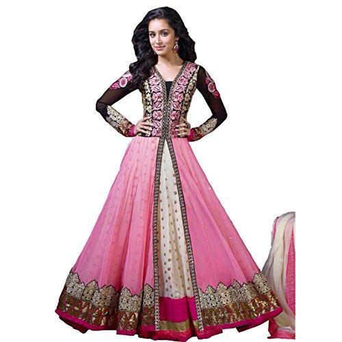 Rozdeal Women's Chiffon Salwar Suit Dress Material – Free Size, Pink