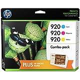 HP 920 Cyan, Magenta & Yellow Original Ink Cartridges with Photo Paper, 3 pack (B3B30FN)