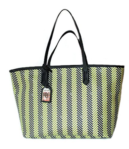 (Ralph Lauren Handbag Boswell Classic Faux Leather Tote Citron Black Large RRL Bag Striped Herringbone)