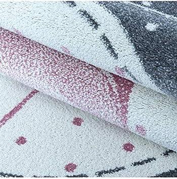 Carpettex Teppich Kinderteppich Kinderzimmer Flamingo mit Sternen Muster Pink Grau Wei/ß 80x150 cm