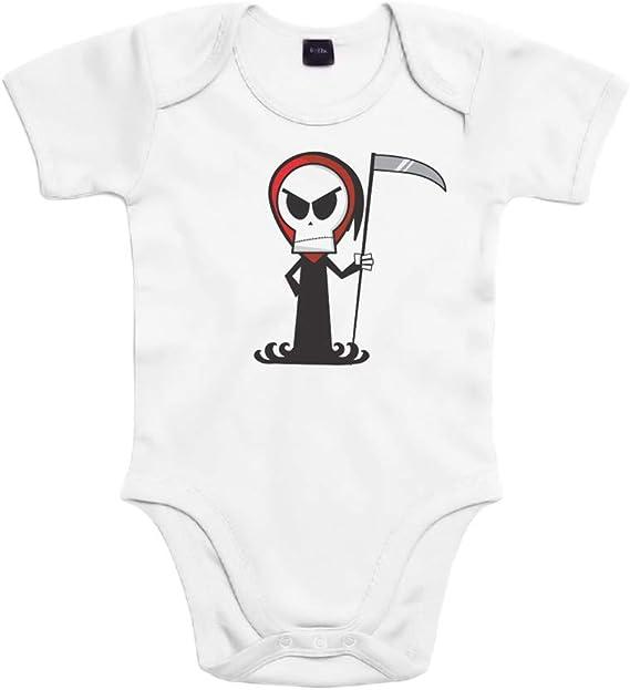 SUPERMOLON Body bebé algodón Calavera 3 meses Blanco Manga corta ...