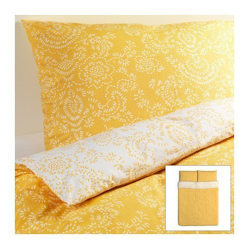 Ikea Akertistel 3pc Queen Duvet Quilt Cover 100 Percent Cotton Yellow / White