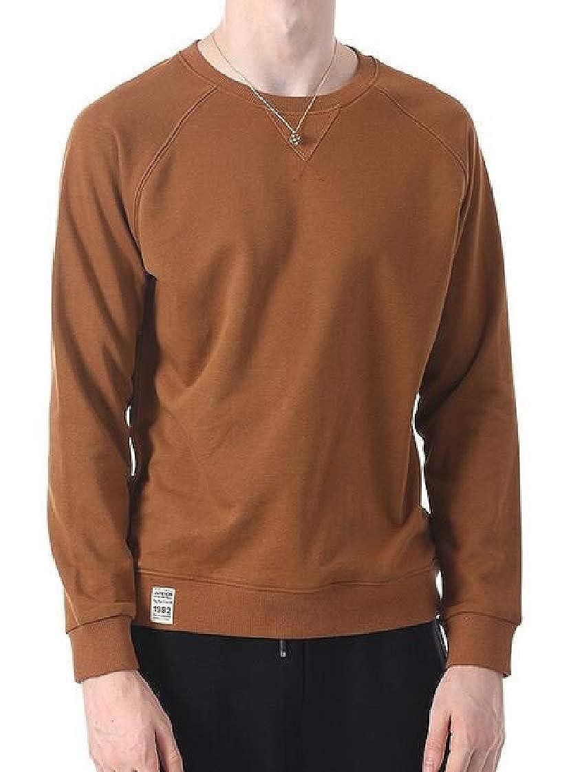 Etecredpow Mens Casual Long-Sleeve Stylish Pullover O-Neck Sweatshirts