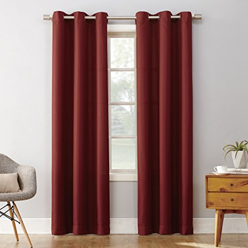 Montego Wine - No. 918 Montego Casual Textured Grommet Curtain Panel, 48