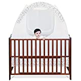 SDADI Baby Crib Safety Tent Pop Up Mosquito Net with Baby Monitor Hang Ribbon,Toddler Bed Canopy Netting Cover |Star WLCN01S