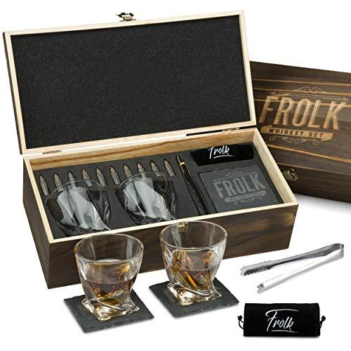 Premium Bullet Sharped Whiskey Stones Gift Set for Men - 10 Bullets Chilling Stainless-Steel Whiskey...