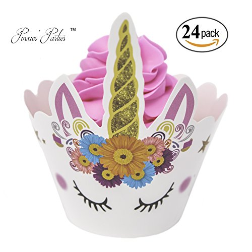 PINXIES Unicorn Cupcake Wrappers | Set of 24 | Unique Artist Design | Perfect for Your Unicorn Themed Birthday Party | Baby Shower