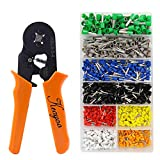 Crimp Tool Kit, 1300pcs 0.25-6.0mm2 Insulated Electrical Cord Pin End Terminals, Tubular Terminals with Ferrule Crimping Plier/Wire Stripping Tool, Assorted Wire Connector