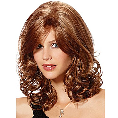 Asifen New Medium Length Body Wavy with Bangs Human Hair Wigs for Women(Color 33 Auburn) (70s Womens Hairstyles)