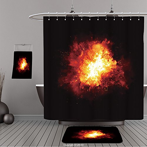 Uhoo Bathroom Suits & Shower Curtains Floor Mats And Bath Towels 219519070 An image of a nice fire explosion For Bathroom
