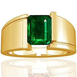 14K Yellow Gold Emerald Cut Emerald Solitaire Ring (GIA Certificate)