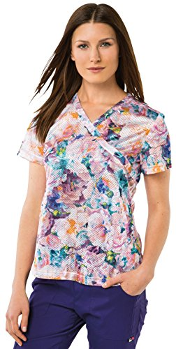 Koi Lite Womens Bliss Mock Wrap Floral Print Scrub Top X-Small Print Bed of Roses (Wrap Rose Top Mock)