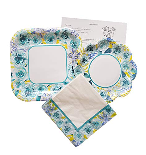 Spring/Easter Colorful Floral Disposable Paper Plate and Napkin Set - Serves 12 (Blue -