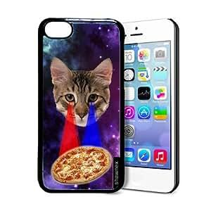 Shawnex Springink Hipster Cat Eying Pizza Nebula Space iPhone 5C Case - Thin Shell Plastic Protective Case iPhone 5C Case