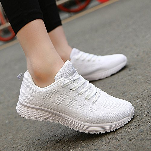 Nero Bianco Fitness Dimensioni Sports Ginnastica 44 1 modello Blu Allacciare Running Sneaker Donna scegli 35 da Grigio da PAMRAY Bianco Maglia Scarpe Sottile PBnX4q648