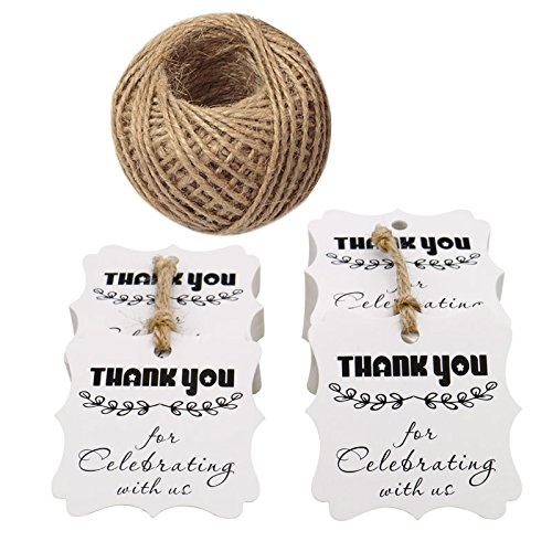 "Etichette con la scritta: ""Thank You for Celebrating with Us"". 6 CM White with leaves JIJA"