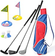 Kids Golf Clubs Set, Exercise N Play Deluxe Happy Young Golfer Sports Kit, 15 Piece Set of Kids Physical and M
