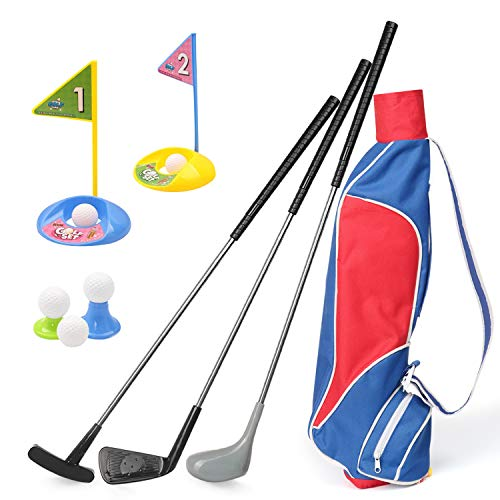 Kids Golf Clubs Set, Exercise N Play Deluxe Happy Young Golfer Sports Kit, 15 Piece Set of Kids Physical and Mental Development