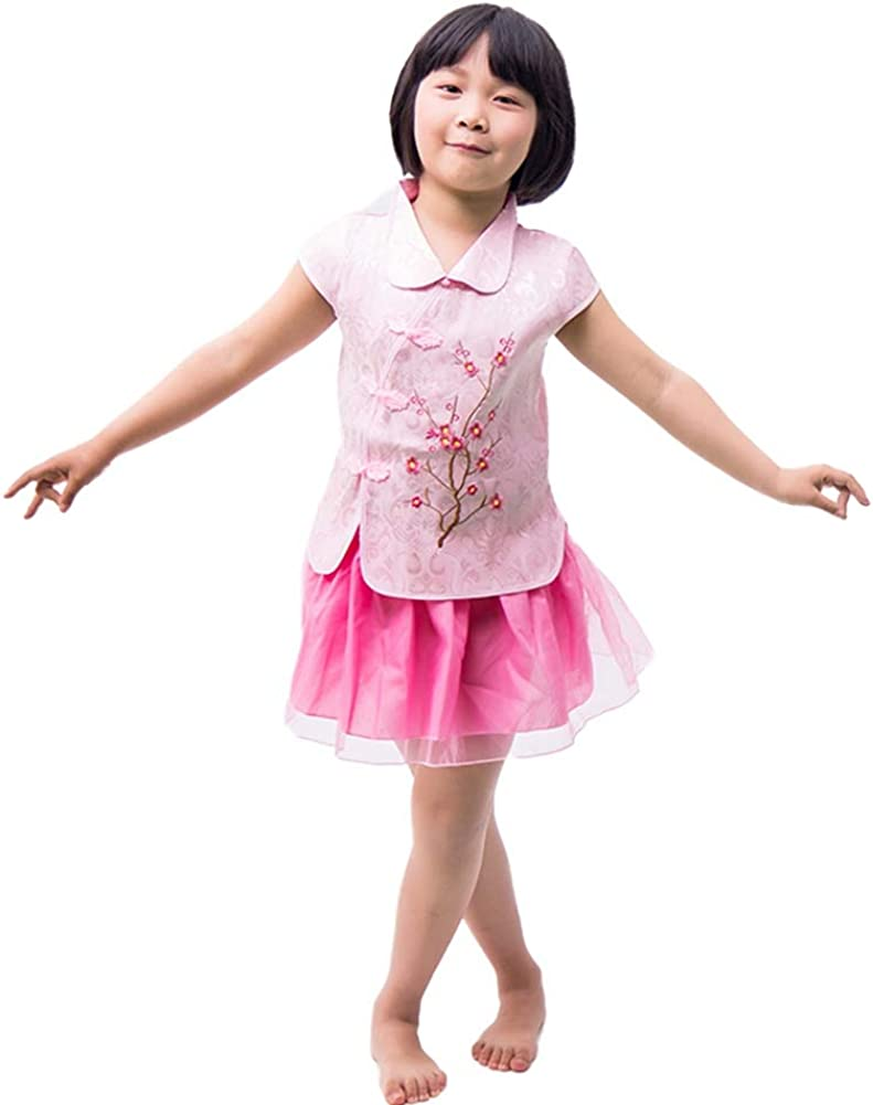 Wenasi Kids Girls Flower Embroidery Print Top Chinese Style Vintage Skirt Set Qipao Baby Clothes