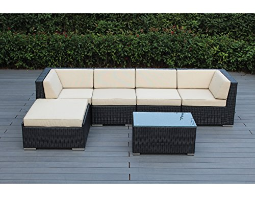Ohana 6-Piece Outdoor Patio Furniture Sectional Conversation Set, Black Wicker with Beige Cushions – No Assembly with Free Patio Cover Review