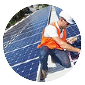 alfombrilla de ratón Los paneles solares con técnico - ronda - 20cm