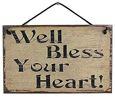 Egbert's Treasures 5x8 Vintage Style Sign Saying, Well Bless Your Heart! Decorative Fun Universal Household Sign for Any Occasion