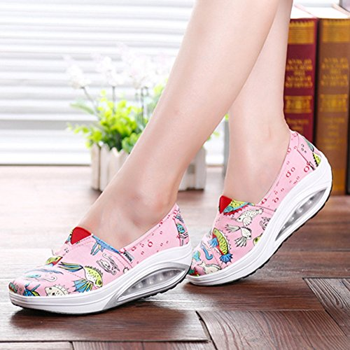 Womenswaking Shoes Slip On Casual Thick Base Air Cushion Fashion Sneakers By Btrada Pink uSPgf0rNIS