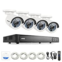 ANNKE 8CH 1080P POE NVR Security Camera System with 4xHD 4 megapixels CCTV Bullet Cameras