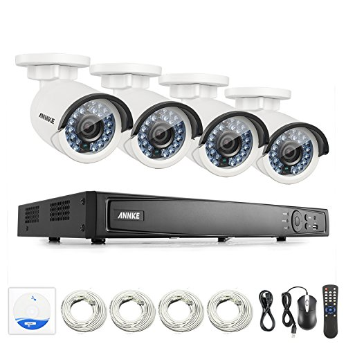 ANNKE 8CH True POE Security Camera Smart PoE System 6.0MP Video NVR and (4) 4.0MP 2688x1520p Weatherproof Cameras with 1/3″ Progressive Scan CMOS, NO HDD For Sale