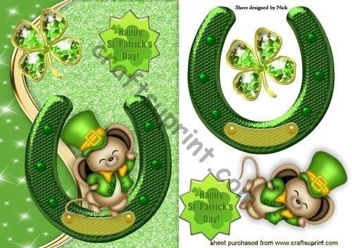HAPPY rat/ón con herradura de la suerte por Nick Bowley D/ía de San Patricio Yeh