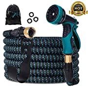 #LightningDeal Gardguard Expandable Garden Hose, Water Hose with 9 Function Spray Nozzle and Durable 3-Layers Latex, Flexible Water Hose with Solid Brass Fittings, Best Choice for Watering and Washing