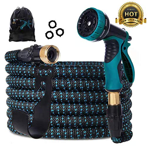 - Gardguard 50ft Expandable Garden Hose: Water Hose with 9 Function Spray Nozzle and Durable 3-Layers Latex, Flexible Water Hose with Solid Brass Fittings, Best Choice for Watering and Washing