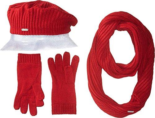 Knit 3 Piece Set - Calvin Klein Women's 3 Piece Rib Knit Scarf Set Accessory, Rouge, One Size
