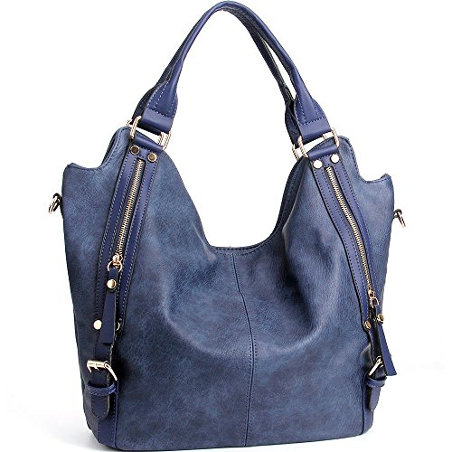 (Joyson Women Handbags Hobo Shoulder Bags Tote Pu Leather Handbags Fashion Large Capacity Bags Blue, Medium)