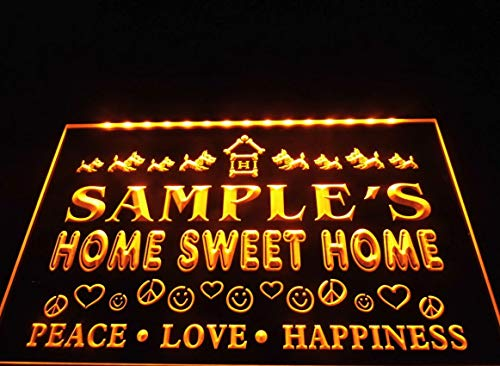 (Name Personalized Custom Home Sweet Home Scottie Peace Love Neon Sign - Orange Colour)