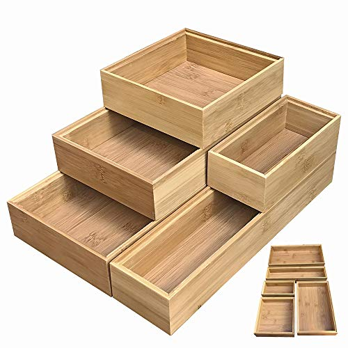 Wood Drawer Boxes - Simhoo Bamboo Stackable Drawer Organizer and Desk Storage Box/Tray for Office Supplies,Junk,Crafts,Sewing Small Daily Use Articles 5 Boxes Adjustable Organization(1sets)