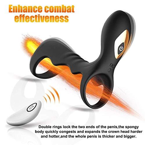 Dkaea Waterproof Male Enhancement Exercise Double Ring Flexible Rings-100% Safe Silicone Black Dkaea