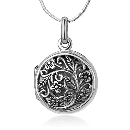 Chuvora 925 Oxidized Sterling Silver Open Filigree Vintage Flower Vine Round Locket Pendant Necklace, 18