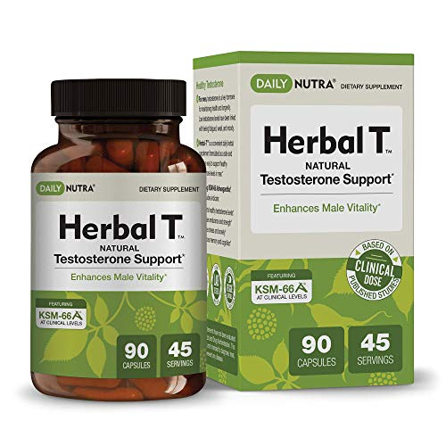 Herbal T Natural Testosterone Booster for Men: Increase Energy, Endurance, and Vitality - Featuring Clinically Proven KSM-66 Ashwagandha (1-Bottle) (Best All Natural Testosterone Booster)