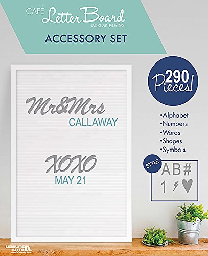 Leisure Arts Café Letter Board Accessory Set – Gray and Aqua | Use with the Café Letter Board | Includes 290 Letters, Numbers, Symbols and Shapes