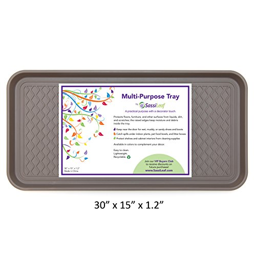 "SassiLeaf Multi-Purpose Tray in Decorator Colors: Large Boot Tray, Shoe Tray, Plant Tray, Pet Food Tray, Pet Cage Tray, Litter Box Tray and More! 30"" L x 15"" W x - Slate Pans"