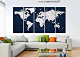 Globe Navy Blue World Map With Pins To Mark Travels, Watercolor World Travel Map Wall Decal With Countries, Multi Panel Canvas Wall Art Hr115