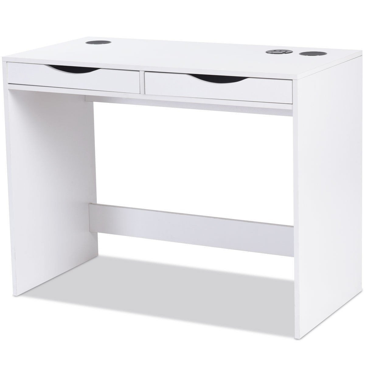 39.5'' White Computer Desk Laptop Writing Table Built in Bluetooth Speakers w/Drawer & USB Port with Ebook