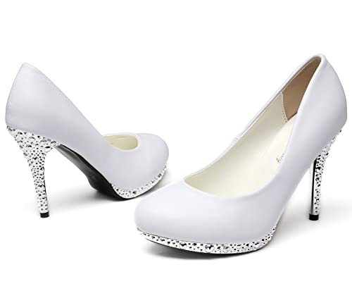 22ae9068f62c0 getmorebeauty Women's Off White Glitter Dress Wedding Shoes High Heel